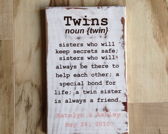 "Personalized ""Twin"" sign - distressed antique white"