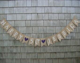 Custom Happy Birthday Banner, Happy 50th Birthday Banner, 50th Birthday Decor, Birthday Bunting, Birthday Garland, 25th, 40th, 30th, 60th