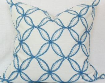 "Blue embroidered geometric decorative throw pillow. Williamsburg Tanjib embroidered ink. 18"" x 18"". 20' x 20"". 22"" x 22""."