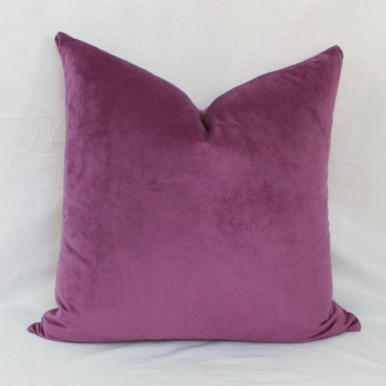 Velour Throw Pillows : Purple velour decorative throw pillow cover. 18 x