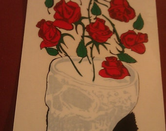 """Grateful Dead Skull and Roses 3.5""""x5.25"""" Window STICKER DECAL"""