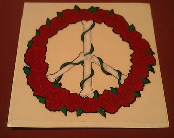"""Bone Peace Sign with Roses 5""""x5"""" Window Decal STICKER new old stock"""