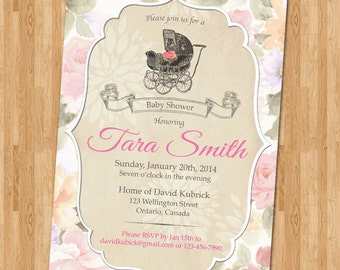 Stroller Baby Shower Invitation. Vintage Floral. Rustic vintage baby shower Invitations. Baby girl. Printable digital DIY.