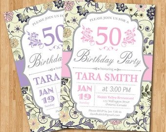 50th Birthday Invitation women. Pink, Purple, Aqua, any color. Floral Flower Adult birthday. Surprise party. Any age. Printable Digital.