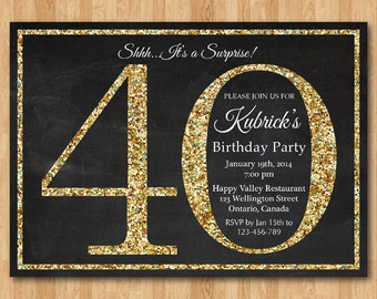 40th birthday invitation. Gold Glitter Birthday Party invite. Adult Surprise Birthday. Elegant. Printable digital DIY.