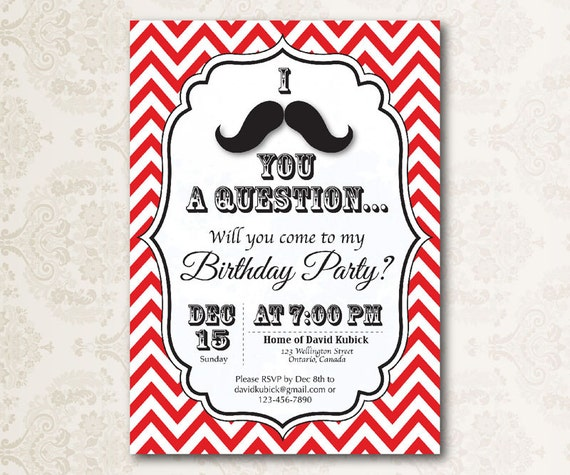 Printable I Mustache You a Question Birthday Party Invitation