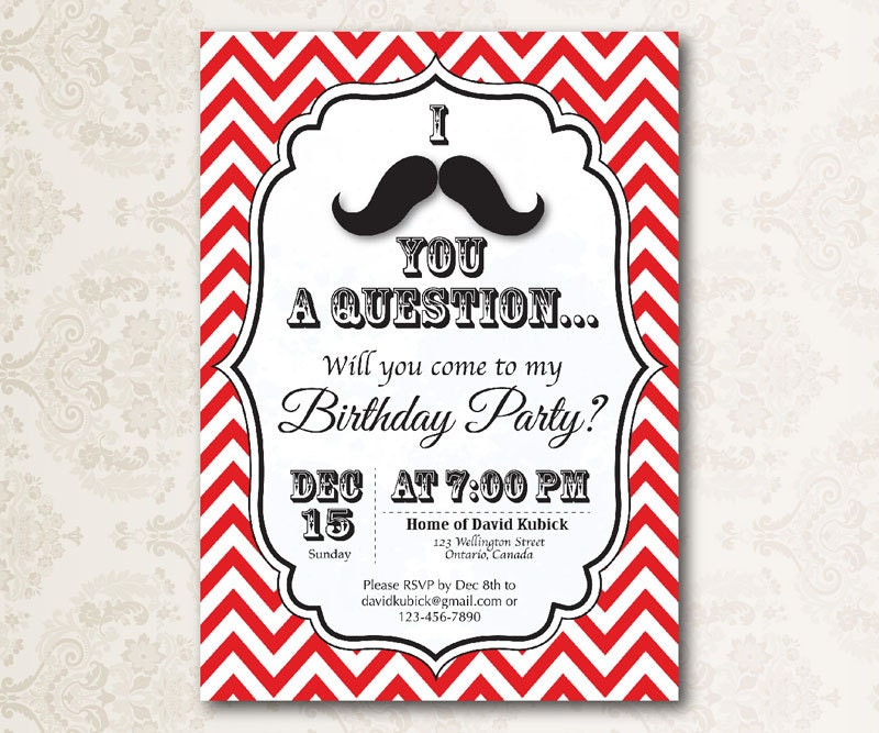 Printable I Mustache You a Question Birthday Party Invitation.