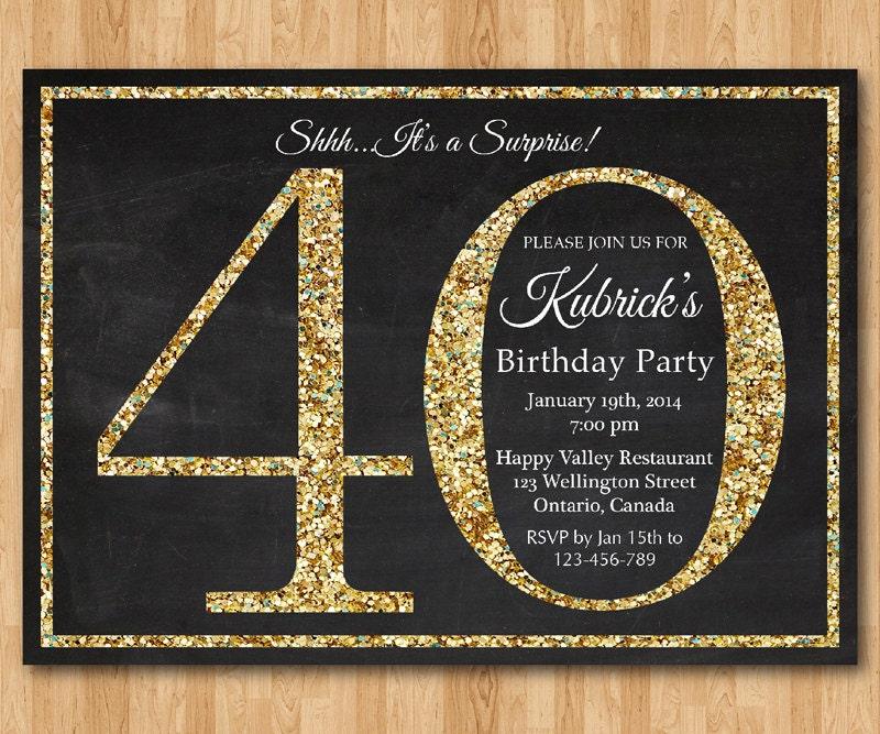 Extrêmement invito compleanno 40 . Invito festa di compleanno Glitter HA06
