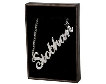 Name Necklace Siobhan - White Gold Plated 18ct Personalised Necklace with Swarovski Elements