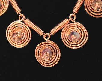 Copper Spiral Flourite Necklace, Hand forged and Hammered Copper