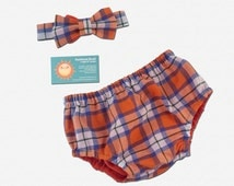 Cake Smash Diaper Cover and Bow Tie -  Orange and Blue Plaid - P2