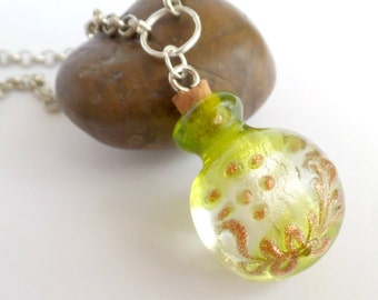 Green Glass Necklace Pendant (Murano Glass Style / Vial)