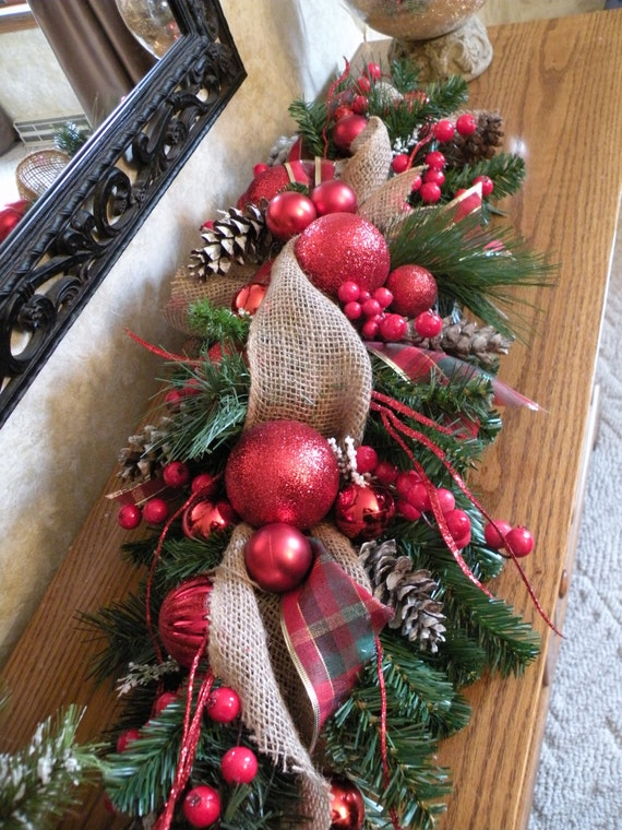 Burlap christmas table centerpiece holiday by kathyswreathshop