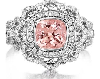 Morganite Engagement Ring 1.27ct Morganite Ring 18k White Gold .73ct Natural Diamond Vintage Ring Wedding Anniversary Pristine Custom Rings