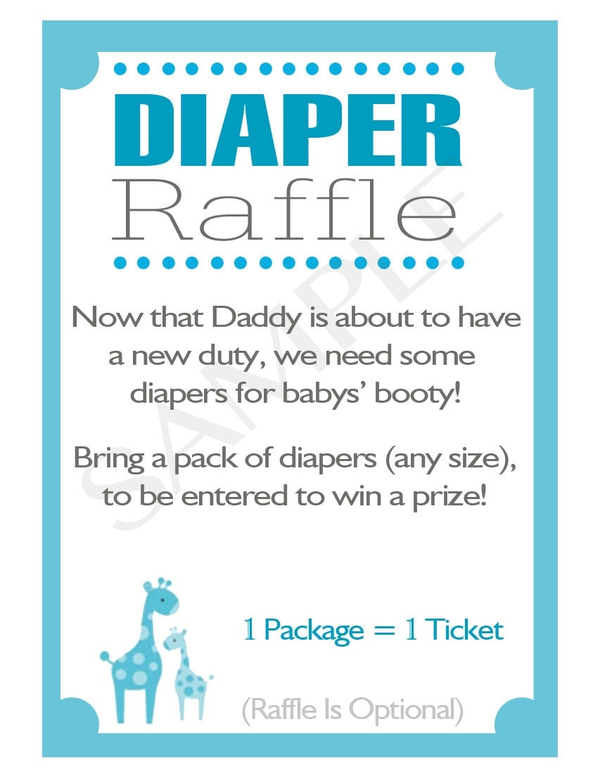 printable diy blue safari baby shower diaper raffle inserts