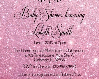 Pink Glitter Baby Shower Invitation - Digital File