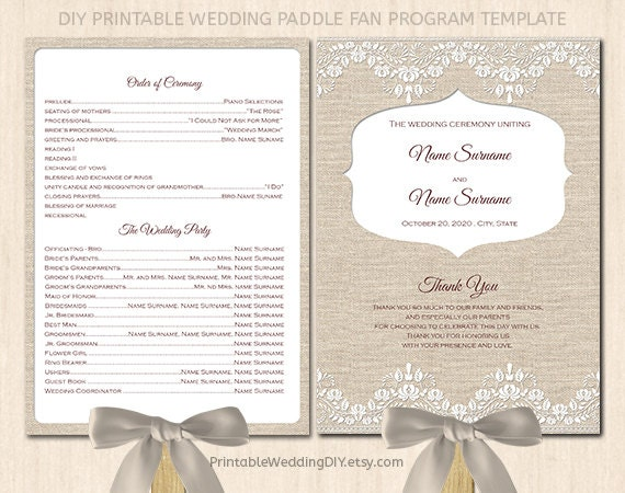 items similar to burlap and lace program fan template printable program fan program fan. Black Bedroom Furniture Sets. Home Design Ideas