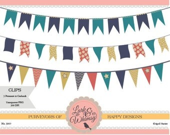 3 Clipart Pennants and Garlands · Digital Scrapbook · Clip Art · Bunting · Flags · Garland · Personal & Commercial Use · Instant Download