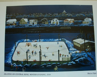 Limited edition print.    Skating on Central Rink