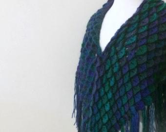 Shawl with  Crocodile Stitch, Beautiful Warm Shawl, Unique Multicolored Shawl Hand Crocheted Shawl