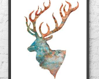 Deer Art Print - Animal watercolor painting print - 102