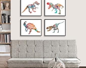 Art Print Watercolor Dinosaurs Art Watercolor Painting Print, Kids Art, Childrens Room Decor - Set of 4 - 255/260/261/262