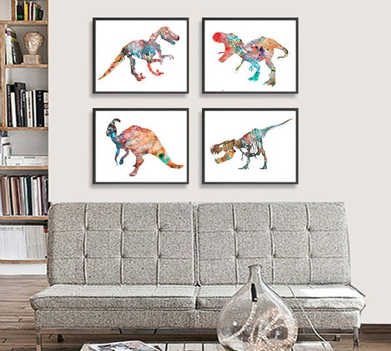 Kids Room Wall Decor: Art Print Watercolor Dinosaurs Art Watercolor By Thenobleowl