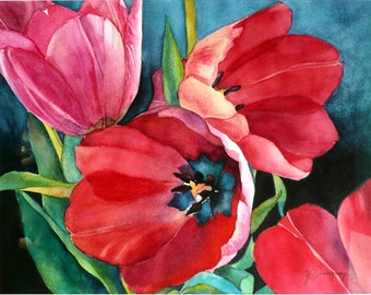 """Red Tulips Watercolor Painting Close Up of Three Red Tulips Garden Flower Painting Matted 20"""" x 23"""" Wall Art for Watercolor Tulip Lovers"""