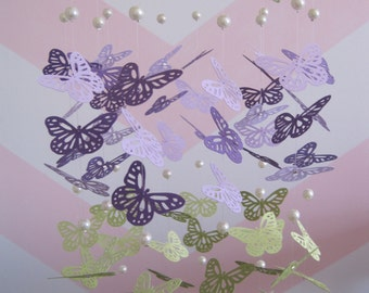 Purple and Green Butterfly Mobile with Glass Pearls