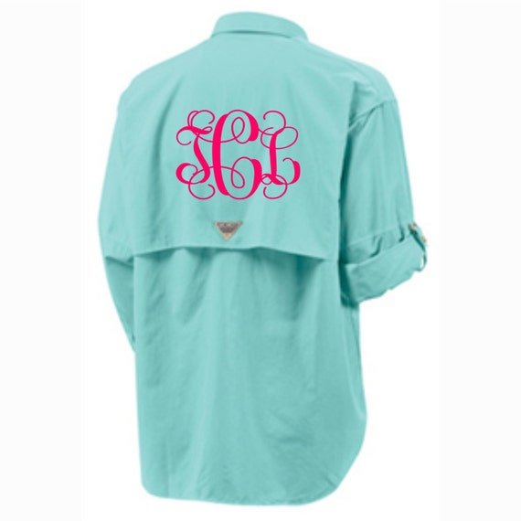 Monogrammed columbia fishing shirt pfg short long sleeve for Embroidered columbia fishing shirts