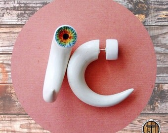 READY TO SHIP claws with eyes fake gauges - white - hand-painted polymer clay stud earrings