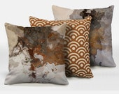 A set of three abstract art pillows, 16x16, 18x18, 20x20, brown decorative pillow, throw pillow, complete pillow, Ball and Chain ABC