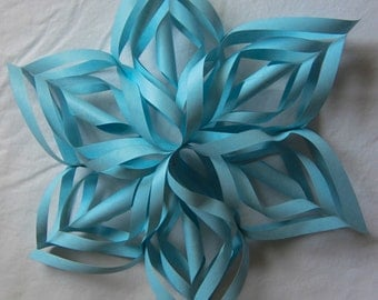 Large Light Blue Paper Snowflake, 22 inches, Christmas ornament decoration