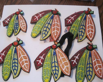 Chicago Blackhawks Glittered Feather headband/clip