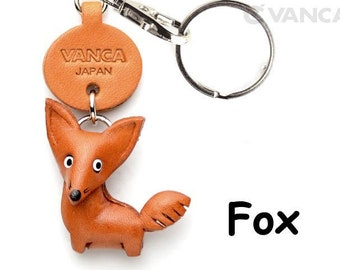 Fox   3D Leather Animal Keychain Keyring Purse Charm Zipper pull Accessory *VANCA* Made in Japan #56205 Free Shipping