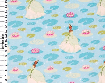 On Sale!!100% Cotton Flannel Princess Tiana Fabric By The Yard