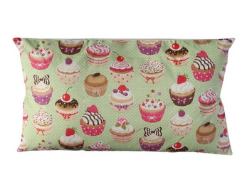 Cup Cakes Cushion in Green color. Insert included.