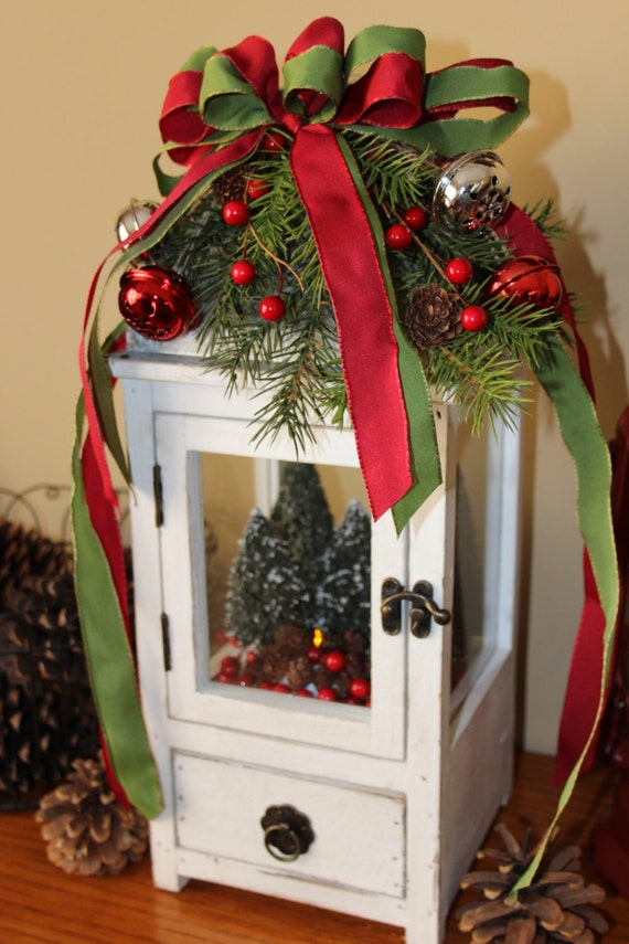 Wooden christmas lantern holiday lighting centerpiece