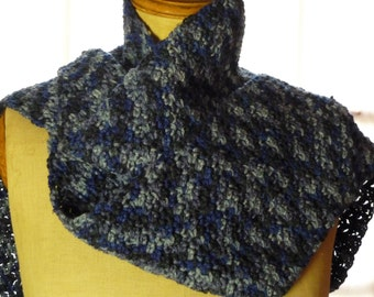 Blue and gray shades in crochet scarf