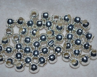 50 - 6mm Silver Plated Large 3mm  Hole Beads (3020017)