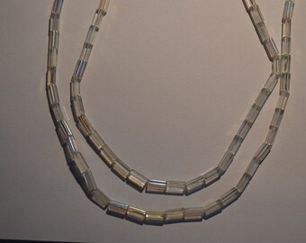 4x13 mm Clear AB Czech Tube beads