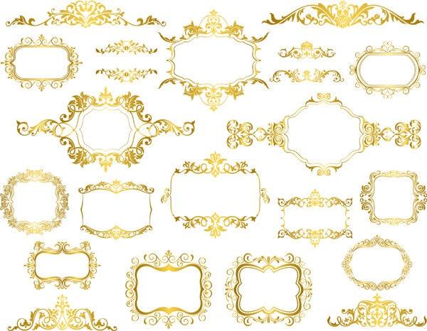 Golden Frame Clip Art Digital Gold Frame Clipart Retro Gold