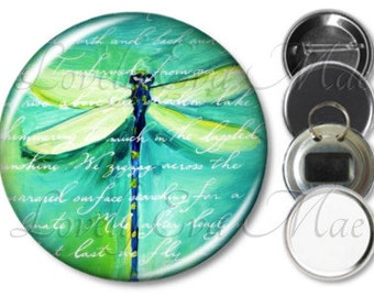 Blue Green Dragonfly Pocket Mirror, Magnet, Bottle Opener Key Ring, Pin Back Button