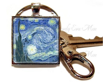 Van Gogh Starry Night Keychain, Starry Night Key Chain, Blue Key Ring, Starry Night Key Fob, Keychain, Keychain with Clip Key Fob with Clasp