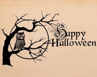Happy Halloween Owl Graphic. Digital download