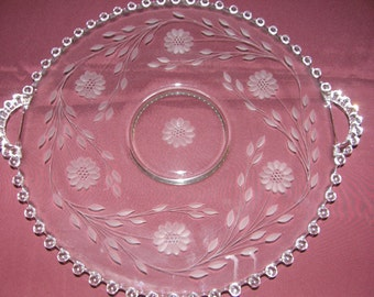 W. J. Hughes Cornflower Imperial Candlewick Large Cake/Dessert  Platter with Handles Clear Glass