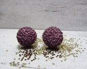 Radiant Orchid~ Color of the Year~ Purple Mum Concrete Stud Earrings Gold