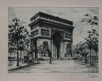 """Fine Art - RARE """"Burin Original"""" by Dufza:  Paris - Arc de Triomphe (Signed!)"""