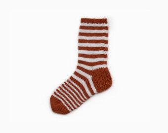 Sale - Knit Wool Stripe Socks - Orange/White (Size: EU 39/40, UK 6/6.5, US/Canada 7.5/8)