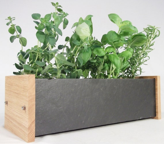 Windowsill Planter Oak And Slate Window Box For Herb And